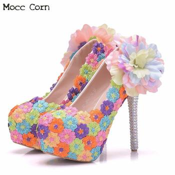 Plus Sizes 41 Crystal Wedding Shoes For Woman High Heels Pearls Bridal Shoes Party Dress Shoes Lace Flower Pumps Bridesmaid Shoe