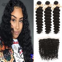 Queen Virgin Remy Brazilian Hair Weave Bundles With Closure Deep Curly Bundles With Frontal Closure 3/4 Bundles Hair Extension