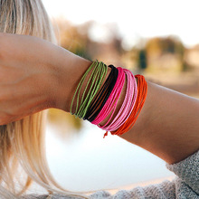 купить Europe and America Hot Waterproof Wax Line Woven Bracelet Color Woven Hand Rope Boho Friendship Bracelet 5PC онлайн