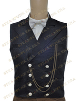 Black Jacquard Double Breasted Steampunk Waistcoat For Halloween