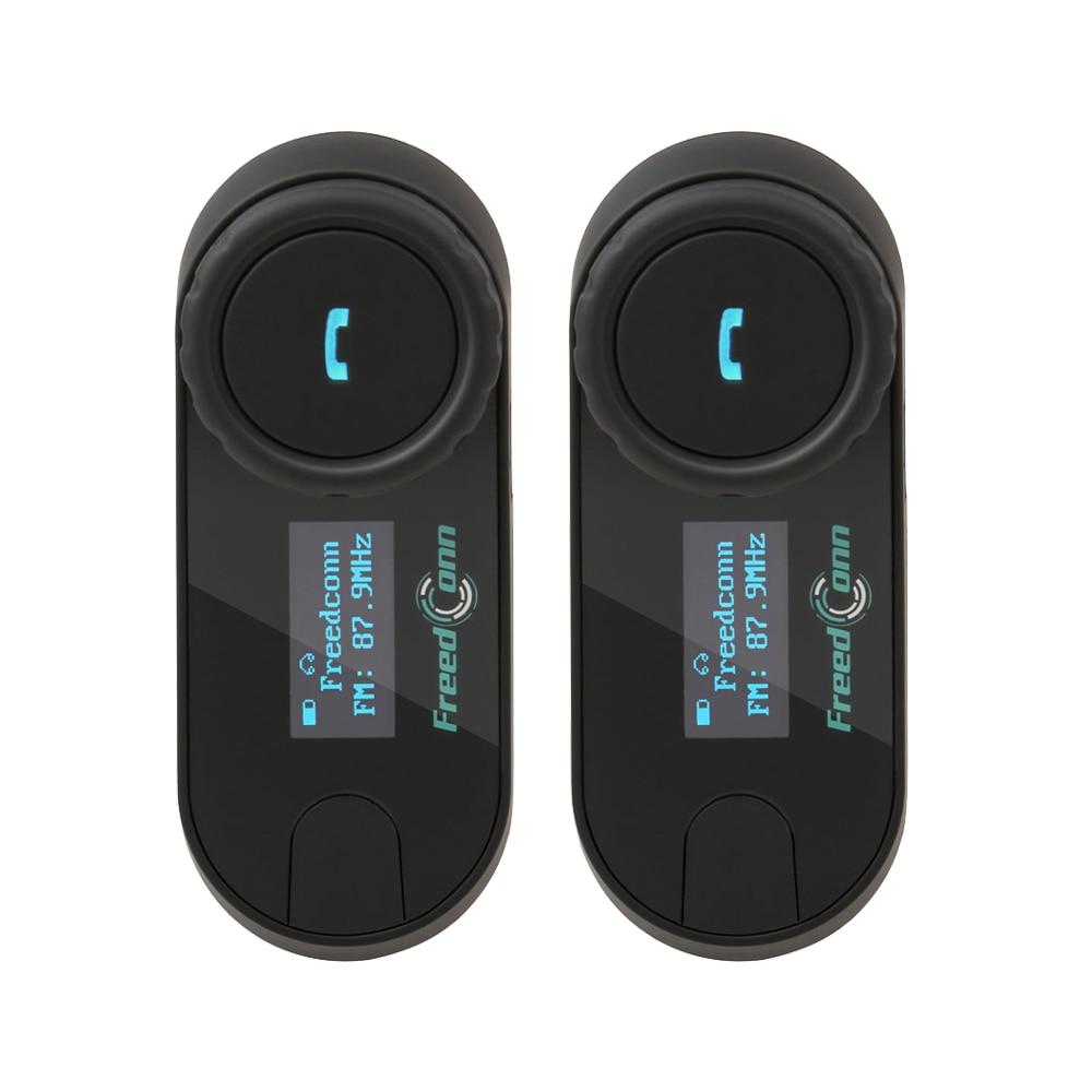 FreedConn 2pcs motorcycle helmet bluetooth intercom wireless headset BT interphone LCD Screen FM Radio for 3