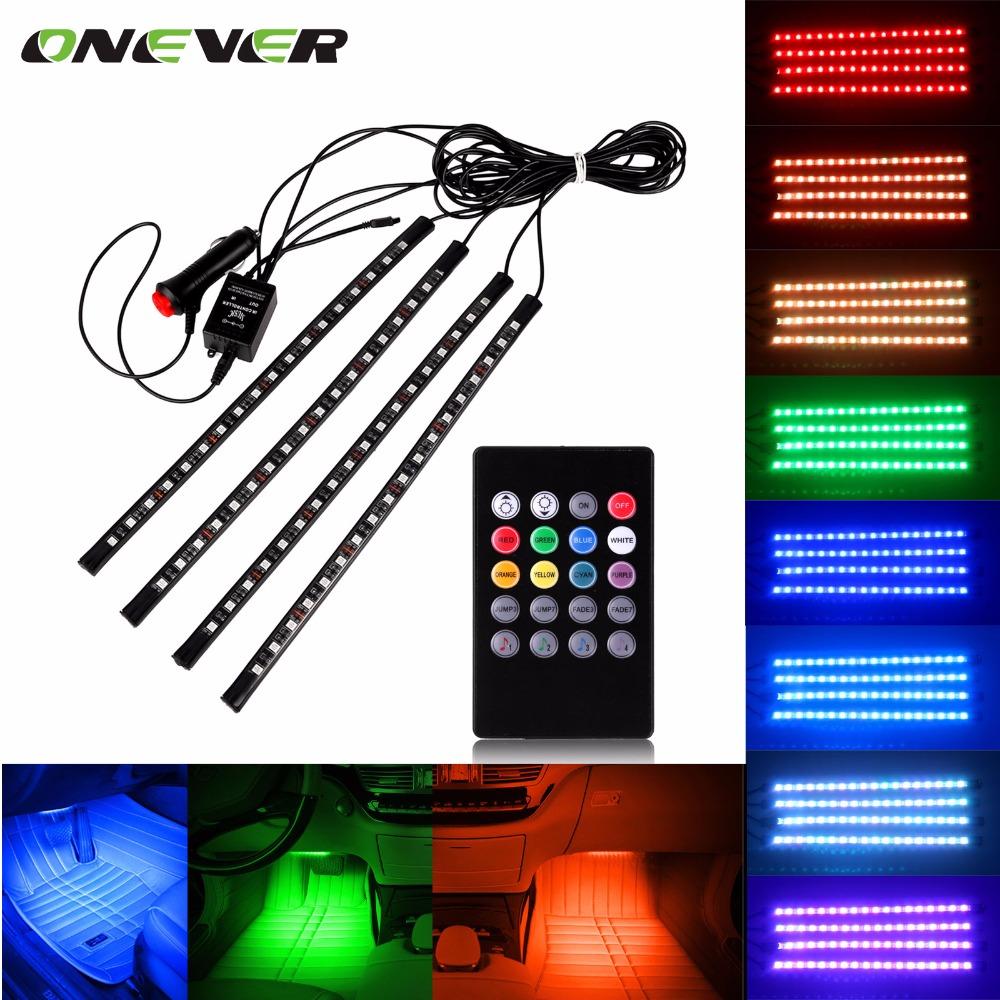 Prix pour Voiture RGB LED Bande Lumière Music Control LED lights Bande 8 Couleurs Car Styling Atmosphère Lampes De Voiture Intérieur Lumière Avec à distance