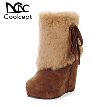 Coolcept Women High Wedges Boots Bowtie Plush Fur Platform Winter Mid Calf Boots Warm Fashion Sexy Women's Shoes Size 33-39 цены онлайн