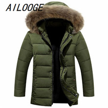 Aishine 2016 Men's Winter Jacket Mens Brand Cotton Down Jacket Coat natural Fur Collar Hooded Casual Winter Jackets Parka