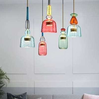 Nordic Color Candy Pendant Lights Living Room Table Bedroom Childrens Room Ins Retro Single Head Glass Lamps Hanging FixturesNordic Color Candy Pendant Lights Living Room Table Bedroom Childrens Room Ins Retro Single Head Glass Lamps Hanging Fixtures