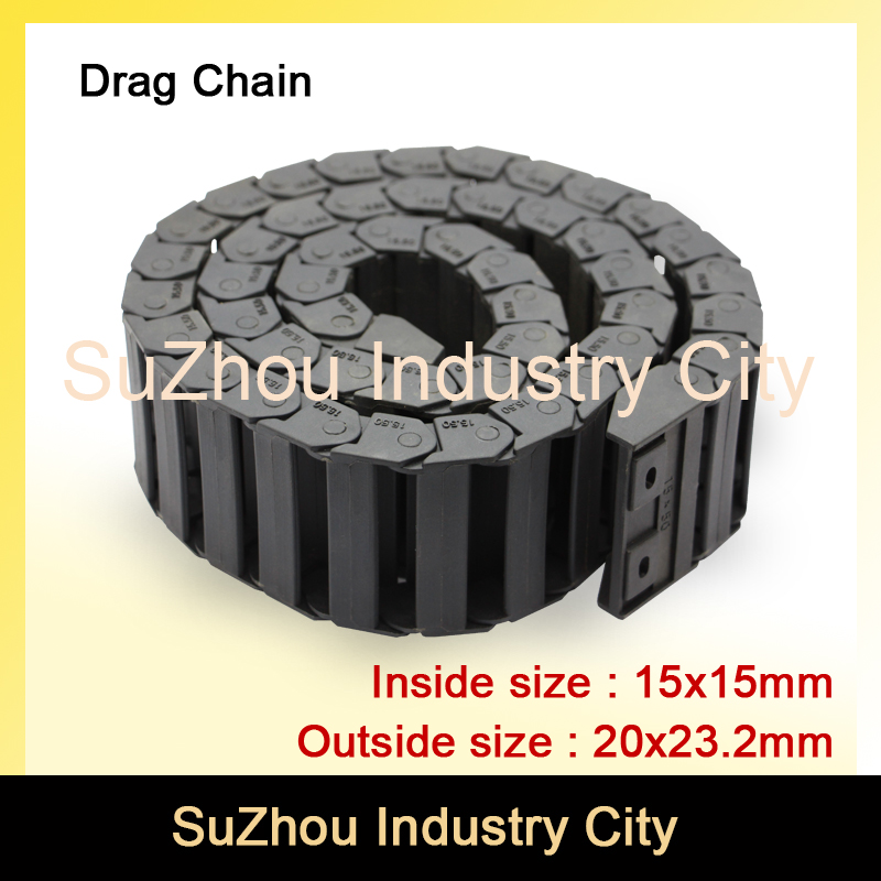 Series 15 x 15mm 20mm 30mm 40mm 50mm length L1000mm Plastic Cable Drag Chain Wire Carrier with end connectors plastic towline !