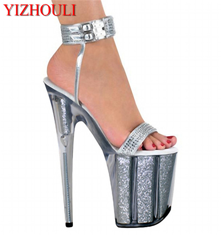 8 inch high heels silver bling bride wedding shoes platform crystal shoes 20cm Platform sexy shoes Exotic Dancer shoes apoepo handmade wedding bride shoes bling bling crystal pregnant shoes 3 5 cm increased internal low heels shoes mary janes shoe