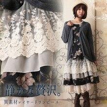 Harajuku/осеннее плиссированное платье в стиле Mori Girl, женское платье из двух частей, многослойное кружевное платье с цветочным рисунком и оборками, лоскутное платье с длинными рукавами, D007