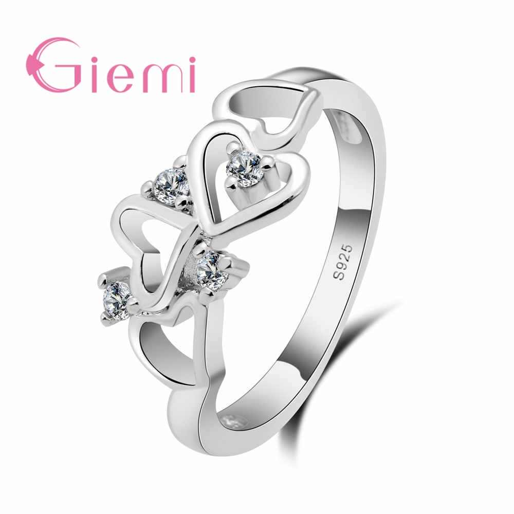 ceef2fef0e GIEMI Valentine's Gifts 925 Sterling Silver Simple Lovers Couple Rings For  Engagement Accessories Female Rhinestone Bijoux