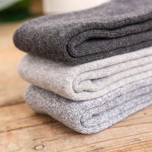 Image 4 - 6PCS=3 pairs 39 45 Mens new winter  velvet warm winter knee high long leg terry socks Cotton Thicken cover calf socks