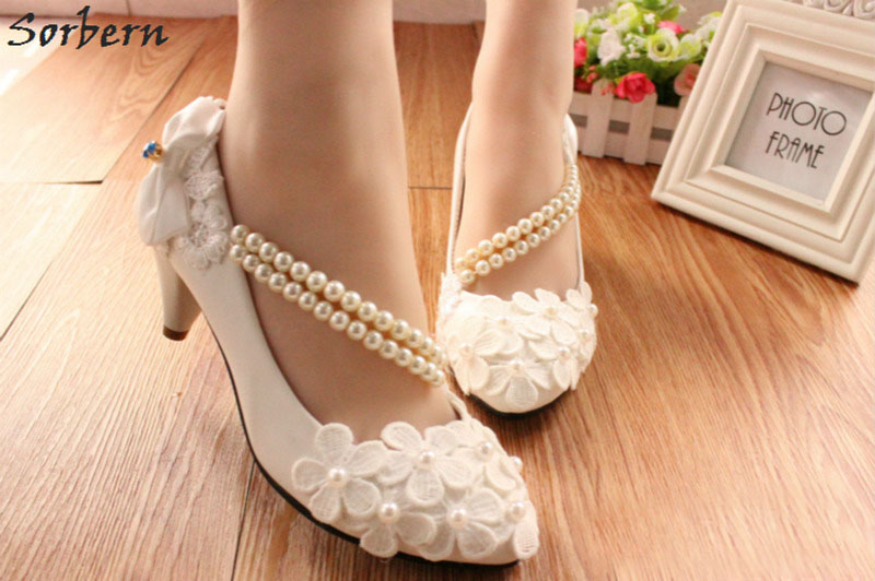 Sorbern Purple Flower Spring Wedding Shoes Beading Straps Pink White Lilac  Bow Bridal Shoes High Heel Pumps 3 5 8Cm Heeled Shoes-in Women s Pumps from  Shoes ... 0d911a197e10