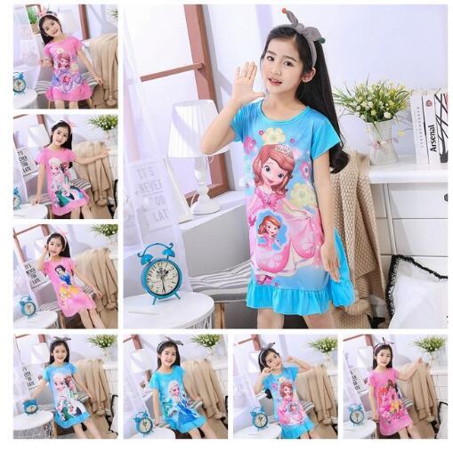 Hete Verkoop Nieuwe Meisje Nachthemd Baby Pyjama Katoen Prinses Nachtjapon Kids Thuis Jurk Zomer Jurken Grote Meisje Nachtkleding Kinderen Nachtjapon M65