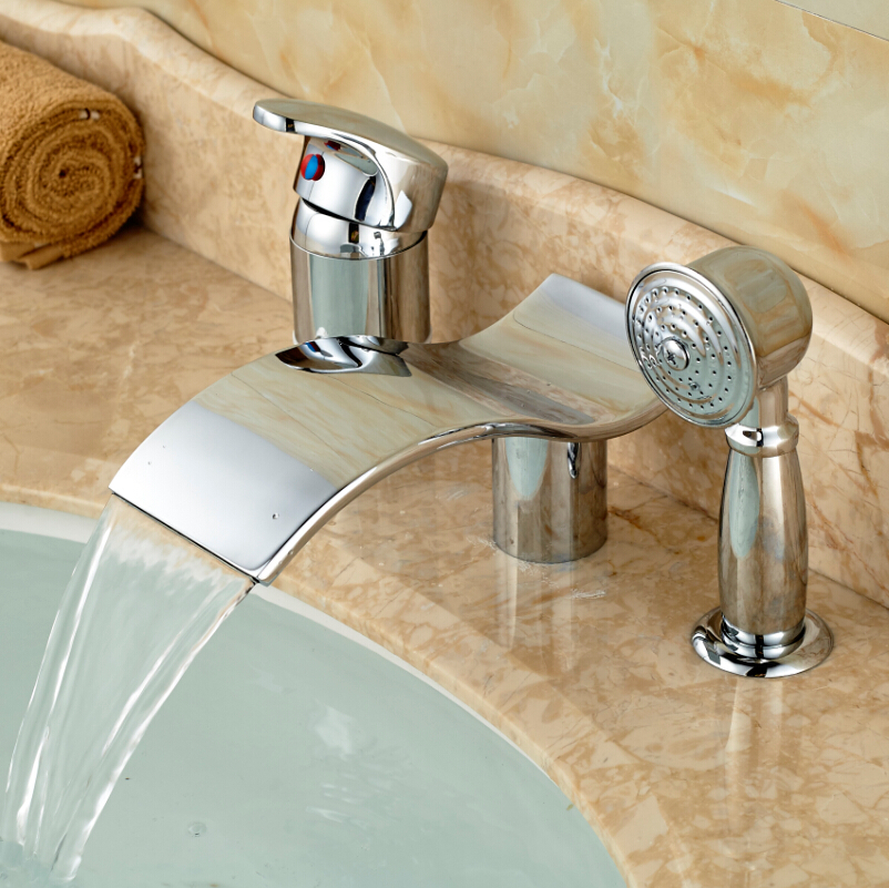 Single Lever Waterfall 3 Holes Bathtub Mixer Tap Tub Faucet with Hand Shower Chrome
