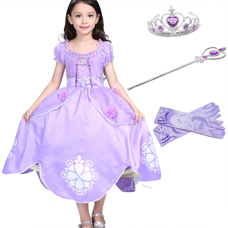 3-10Y Children Girls Princess Sofia Dress Summer Dress 5 Layers Puff Sophia Costumes Party Dresses for Halloween Clothes Girls