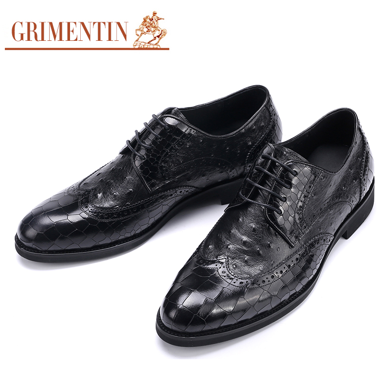 GRIMENTIN Italian formal mens dress shoes genuine leather black luxury wedding male shoes office top quality crocodile grain black oxfords mens dress shoes genuine leather business shoes mens formal wedding shoes