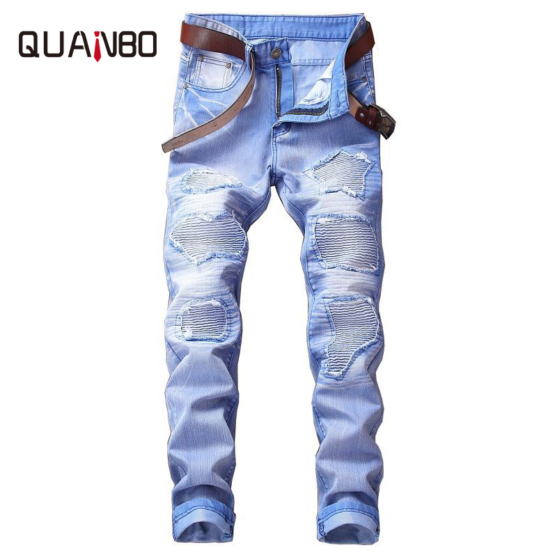 QUANBO Hot Sale 2019 Autumn Winter New Jeans Street Ripped Jeans Fashion Beggar Patch Retro Denim Pants Red Gray Plus Size Pants