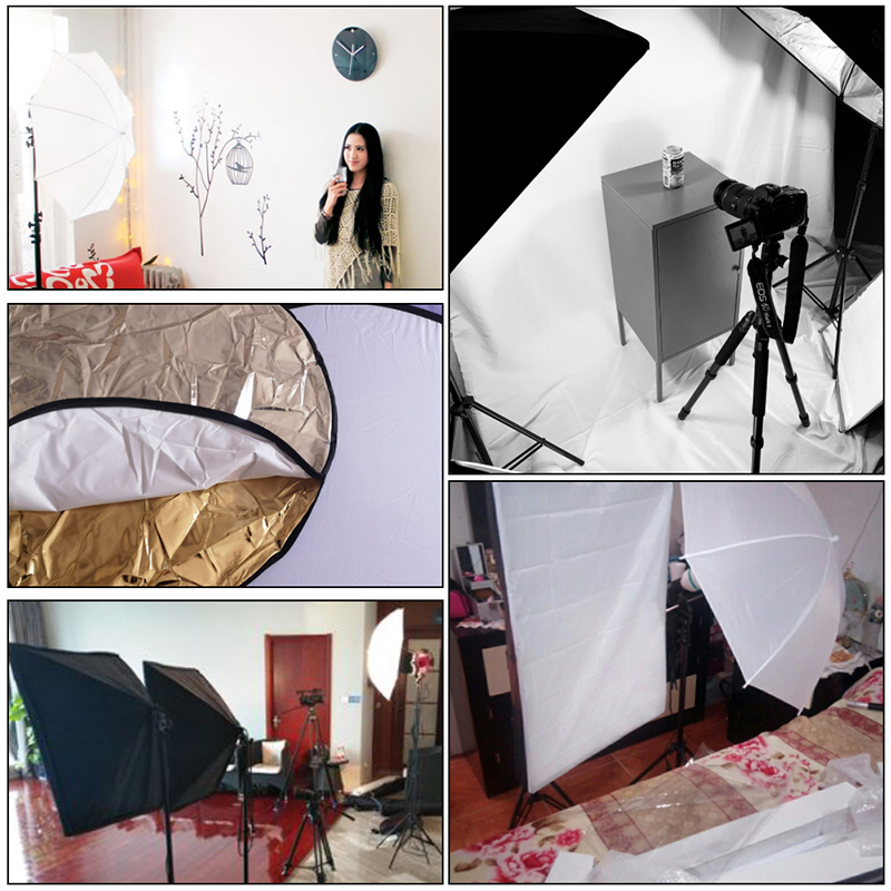 Image 5 - Professional Photography Lighting Equipment Kit with Softbox Soft Umbrella background stand Backdrops Light Bulbs Photo Studio-in Photo Studio Accessories from Consumer Electronics