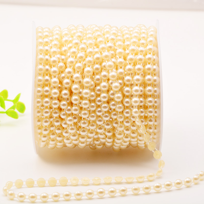 50m/roll 4mm Flatback Pearl Beads Semi-circle Sewing Cotton Line Chain Wedding Party Garland Decorations Event Bridal Bouquet