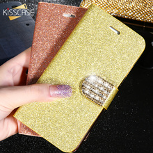 KISSCASE Flip Cases For iPhone XS X 7 8 Plus Case Glitter Leather Apple 6 6S 5 5S SE Wallet Phone Cover Coque
