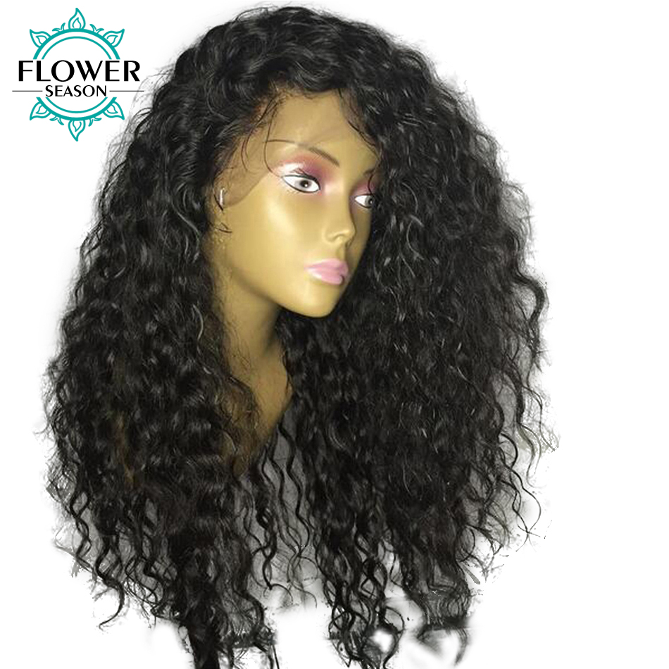 Oulaer Natural Hairline Glueless Curly Human Hair Lace Front Wig - Rambut manusia (untuk hitam)
