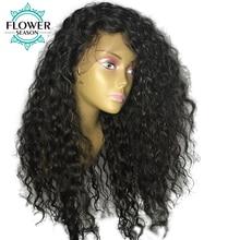 Oulaera dabīgais matu līnijas bezgaisa cirtainais cilvēka matu mežģīņu priekšējais parūka ar bērnu matiem Malaizijas bez Remy cilvēka matu dabīgā krāsa