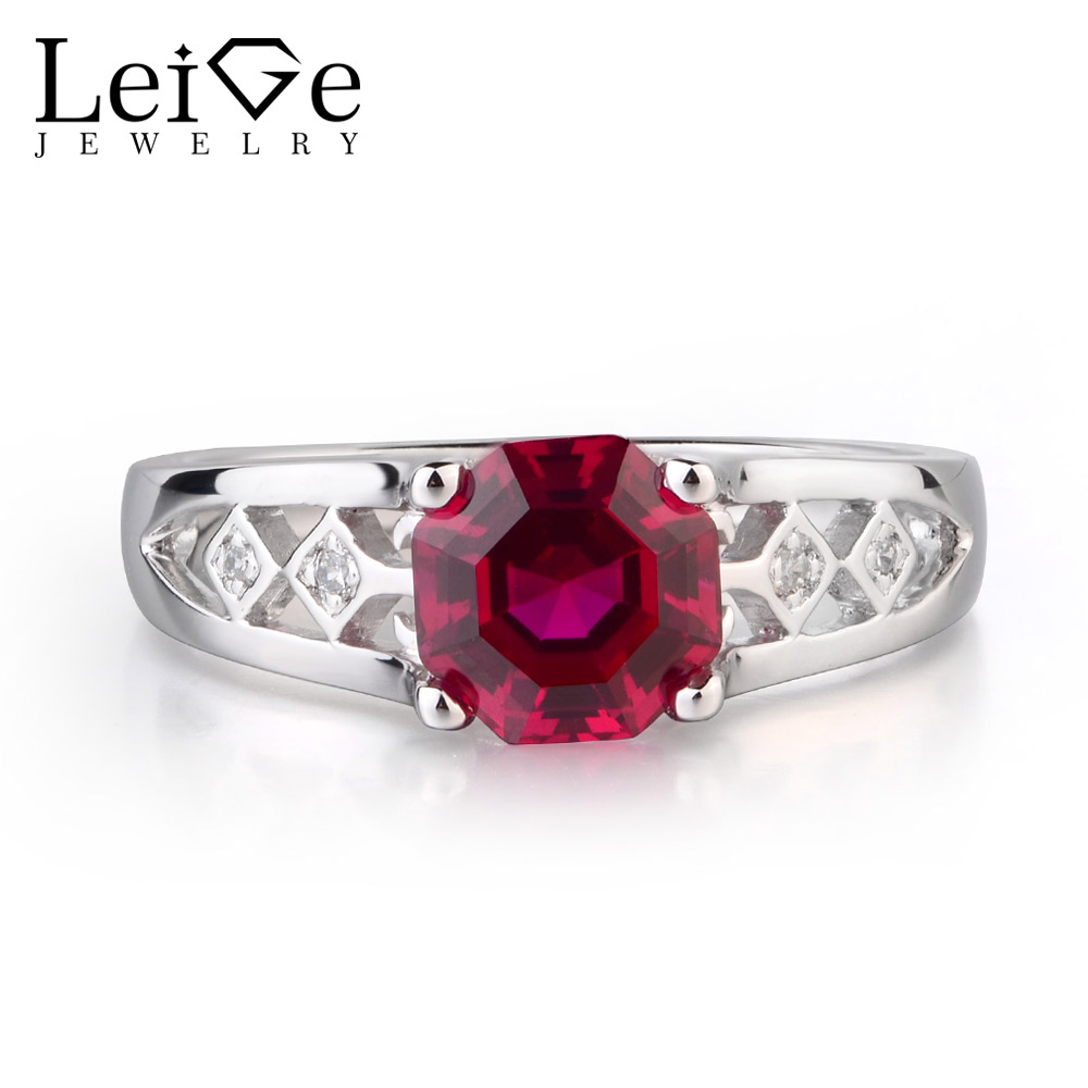 Leige Jewelry Lab Created Ruby Solid 925 Sterling Silver July Birthstone Octagon Cut Engagement Rings For Woman