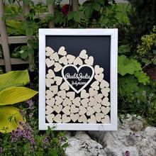 Подгоняйте сердца деревенская свадьба выгравированы альтернатива деревянные гостевые книги падение фоторамка подписи книги для гостей