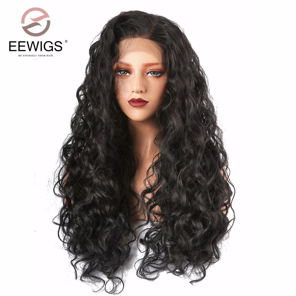 Long Kinky Curly Synthetic Lace Front Wig Black Afro Women's Wig Natural Wigs for Women Black Daily Use Half Hand Tied 26 Inch