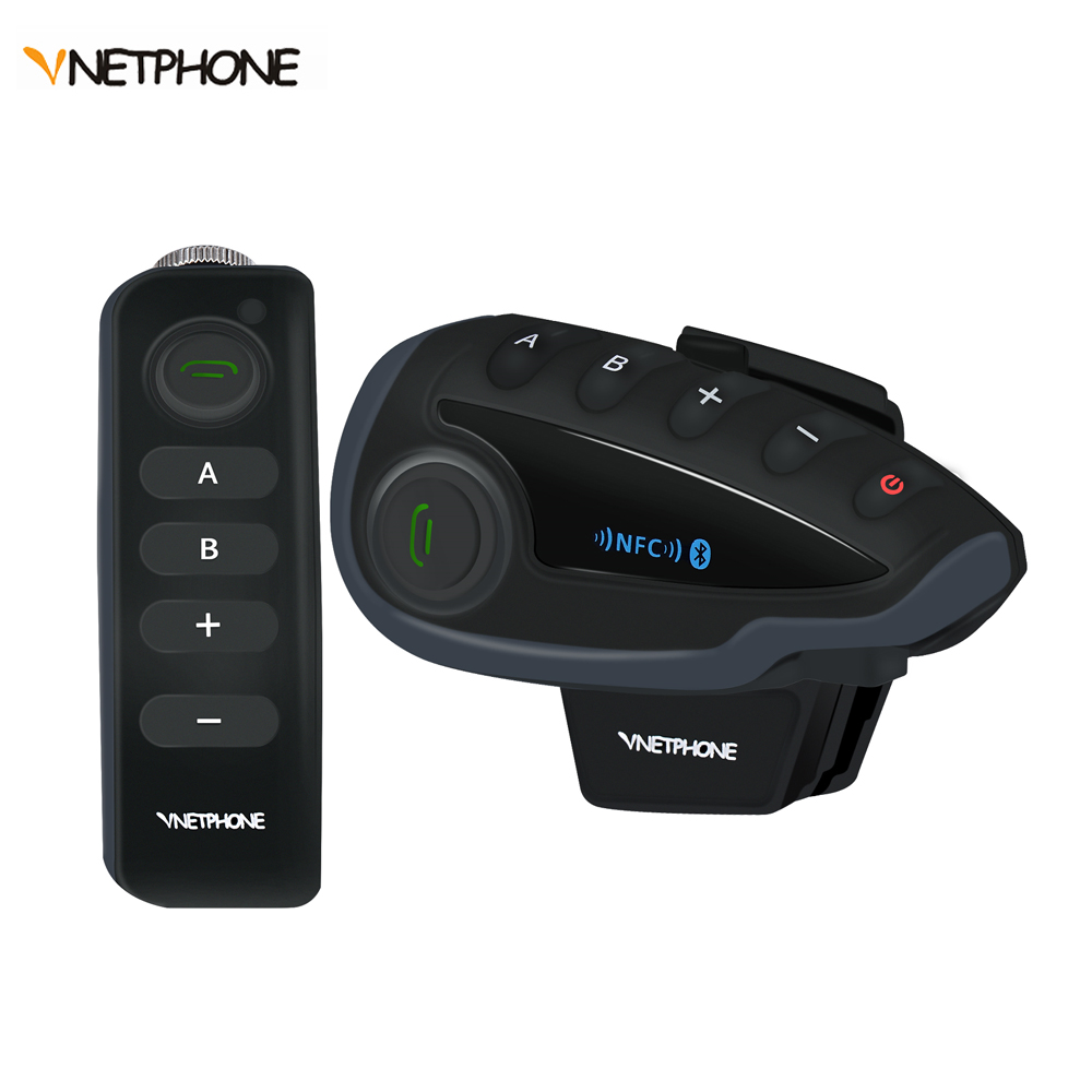 Vnetphone V8 BT 3.0 Bluetooth Intercom Motorcycle Helmet Waterproof Interphone Headset 5 Riders up to 1200M Wireless communicati