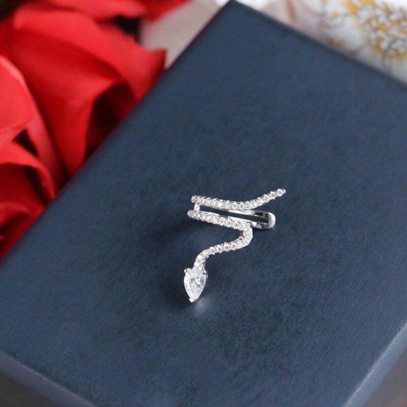 1Pcs Luxury Snake Ear Cuff Clip Earring Rose Gold CZ Zircon Snake Shape Hyperbole Single Earring For Women Party Jewelry