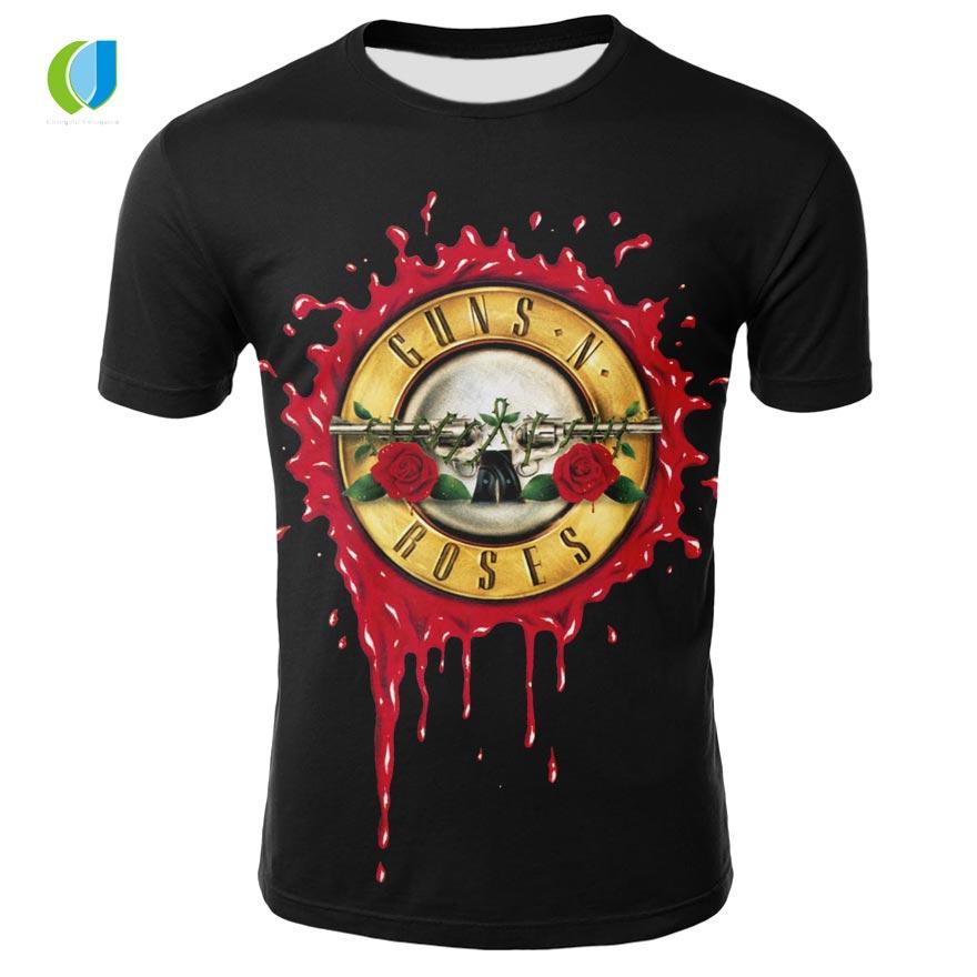New Summer Brand Mens Guns & Roses T-Shirt Mens & Womens O-Neck 3D Printed Metal Rock Hip-Hop Street Short Sleeve T-Shirt