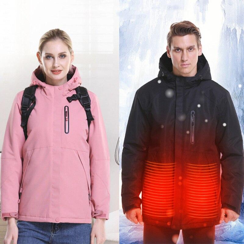 Hommes femmes USB chauffé à manches longues manteau extérieur chauffage à capuche veste chaude hiver ski thermique softshell imperméable veste