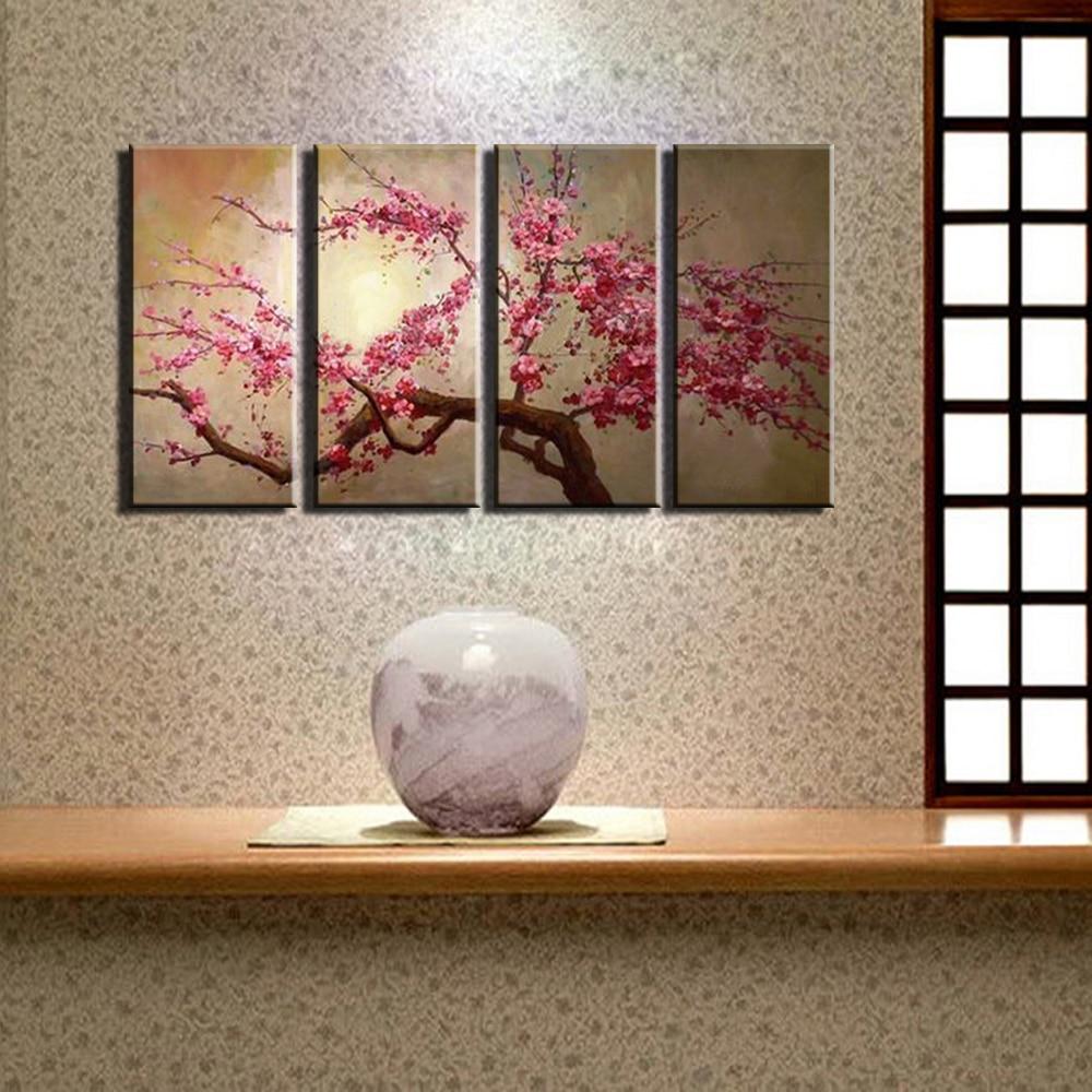 Online kopen wholesale roze bloem olieverf canvas uit china roze ...
