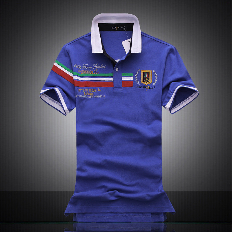 Polo   Shirt Men Embroidered Man   Polos   Shirts Camiseta Masculina 100% Cotton Hommes Striped Short-sleeved Lapel Male Tops