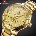 Novos Homens Da Moda Relógios Top de Luxo Da Marca NAVIFORCE Militar Do Exército de Aço Relógio de Ouro Masculino Relógio de Quartzo Dos Homens Do Esporte Relogio masculino