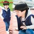 Chifave 2016 Moda Niños Otoño Invierno Chaleco de Ropa de Abrigo de Invierno de la Cremallera Con Capucha Chaleco de los Niños Calientes Del Algodón Sin Mangas de 3 Colores