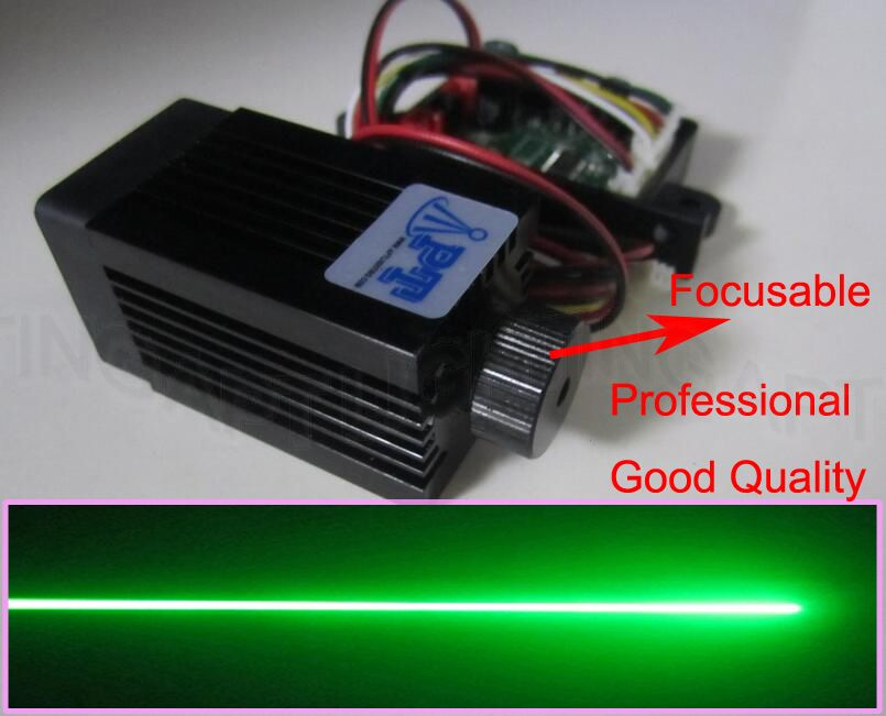 Qualité de focalisable Super stable module laser vert 200mW 532nm Stage Light Diode laser RGB Design compact / TT L DC 12V