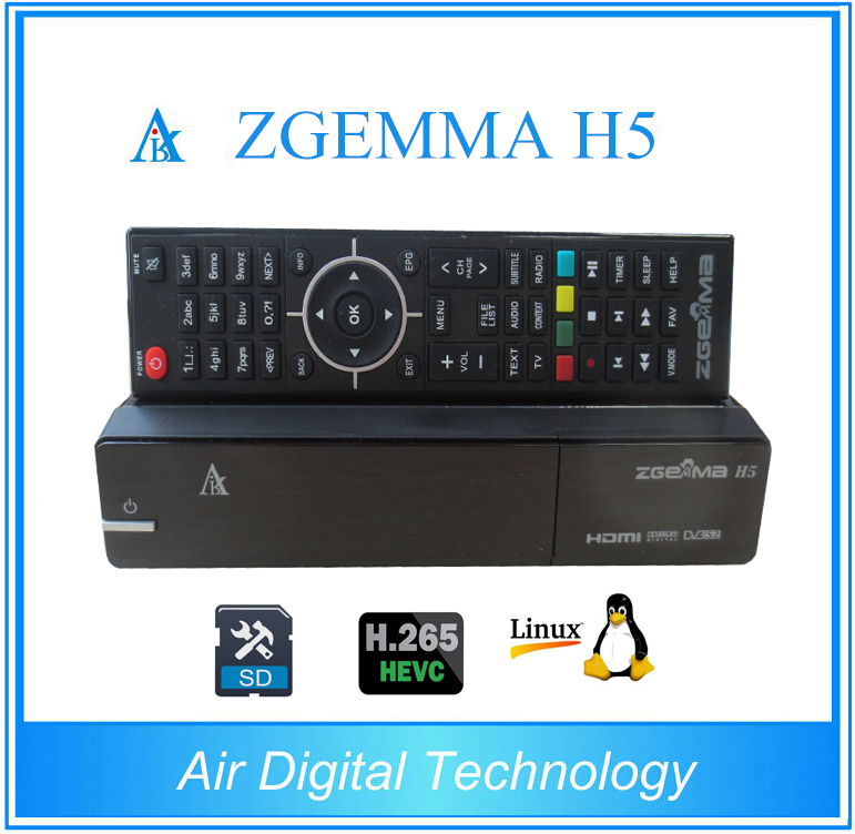 20pcs/lot Zgemma H5 Linux Enigma 2 COMBO Receiver 1x DVB-S2 + 1x DVB-T2/C  HEVC H 265 SET TOP BOX