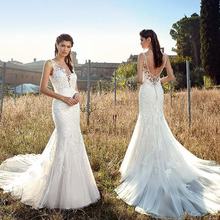 SoDigne Wedding Dresses Spaghetti Straps Bride Appliques V neck Mermaid/Trumpet Dress 2019