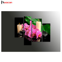 Diamond Embroidery Triptych Pink Flower Candle Picture Of Rhinestones Diy Diamond Painting 4PCS Beadwork Chinese Home