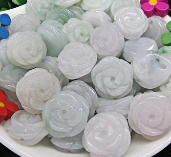 Natural Burma rose jade ring scattered beads DIY jewelry handmade lotus beads