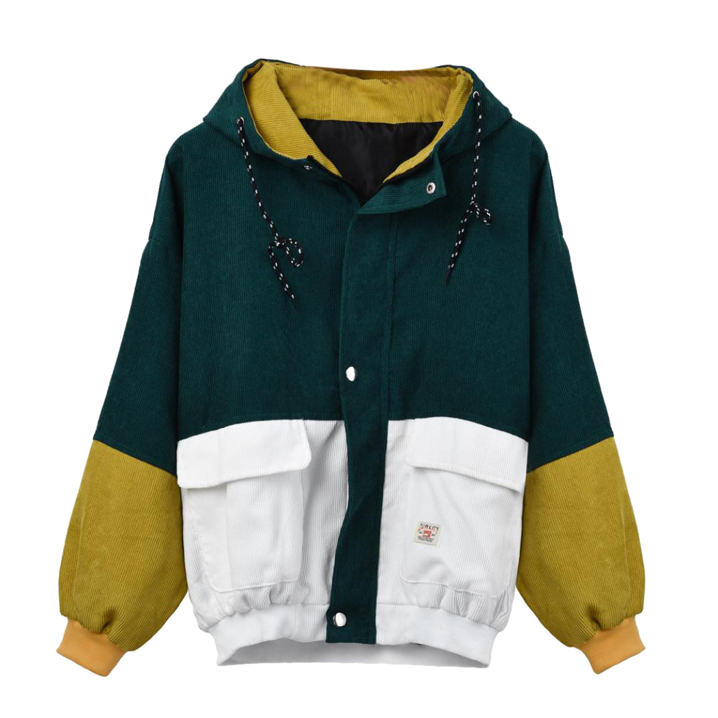 Women Long Sleeve Corduroy Patchwork Oversize Jacket Windbreaker Coat Overcoat Hooded Pockets pockets windbreaker jacket women