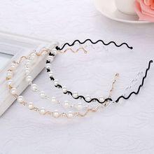 Korean Minimalist Faux Pearl Headpiece Ladies Wedding Bridal Wavy Steel Wire Hair Hoop Handmade Beading Styling Accessories