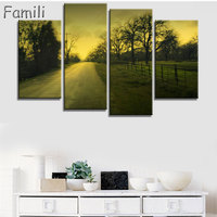 Modular Pictures Wall Art Poster Frame Home Decor For Living Room 4 Pieces Highway Painting Canvas