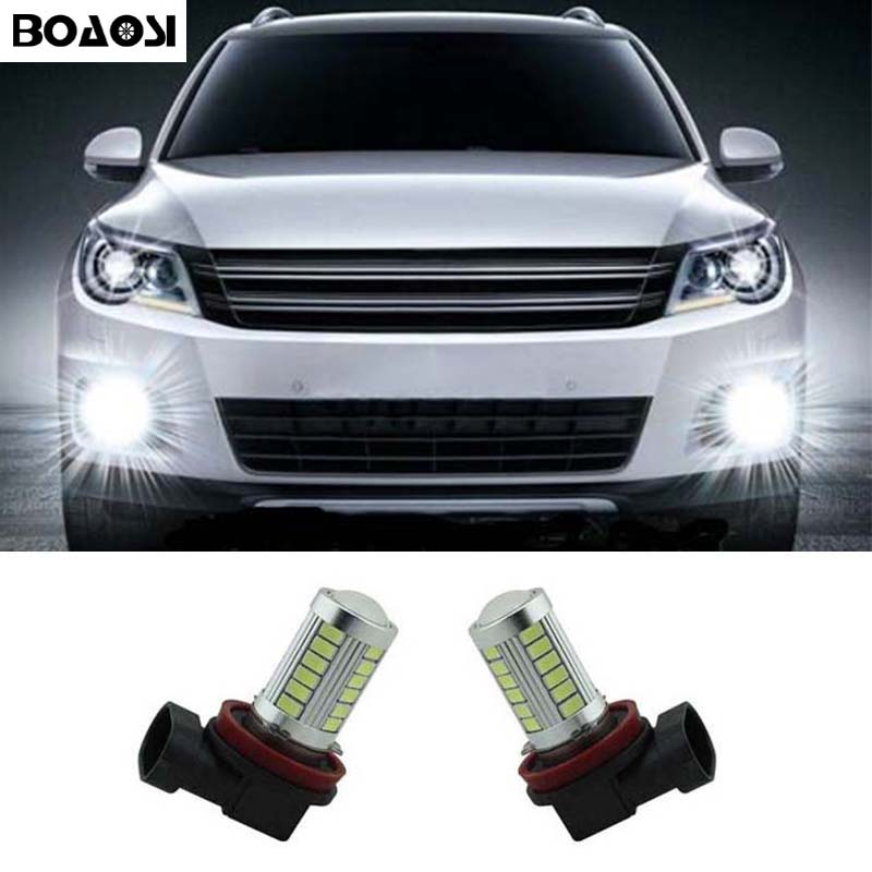 BOAOSI For BMW Ford Mazda Mitsubishi Lancer Asx H11 High Power LED Projector Bulb For Car Driving Fog Light 2pcs
