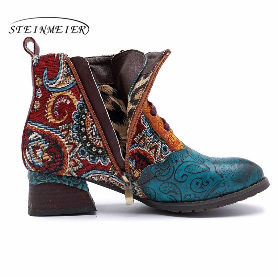 Cheville Épais En Blue 2019 À Cuir Printemps Bottes La Confortables Chaussures Court Talons Véritable Main D'hiver Bleu Femmes Bottines Exqw0zU1w