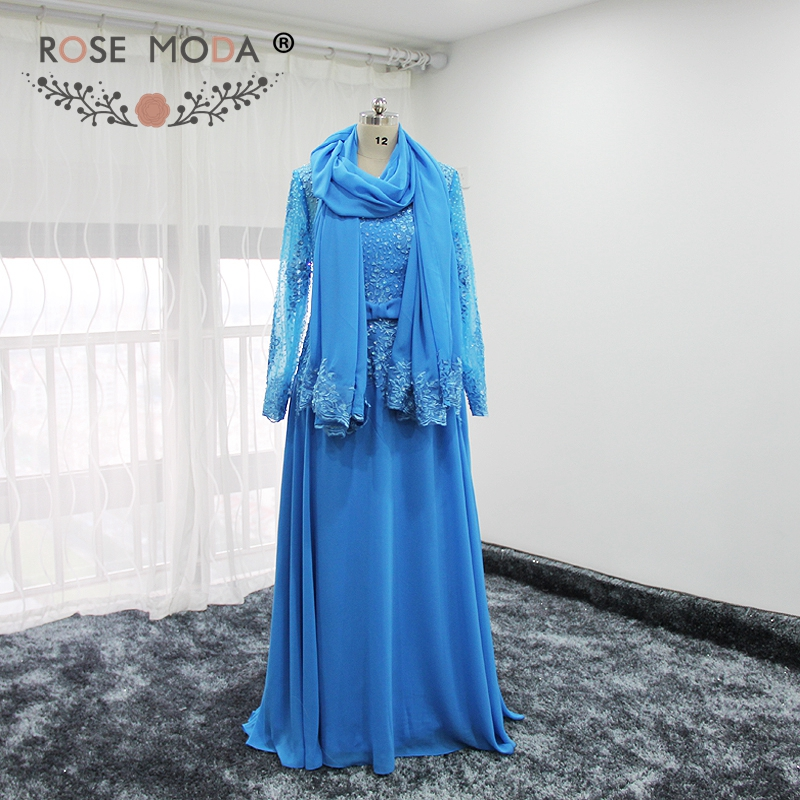Rose Moda Long Sleeves Blue   Prom     Dress   Plus Size Muslim   Prom     Dresses   Formal Party   Dress   Optional Matching Shawl