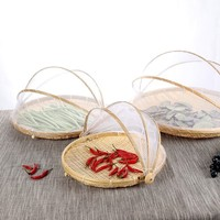 Handmade Bamboo Woven Bug Proof Wicker Basket Dustproof Picnic Fruit Tray Food Bread Dishes Cover