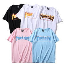 Flame monogrammed lovers print loose short sleeve T shirts round neck trend  Tops(China) 5fe341446804