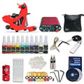 Tattoo starter kits coils guns machine 10 tattoo ink sets power supply disposable needle SMT10-1